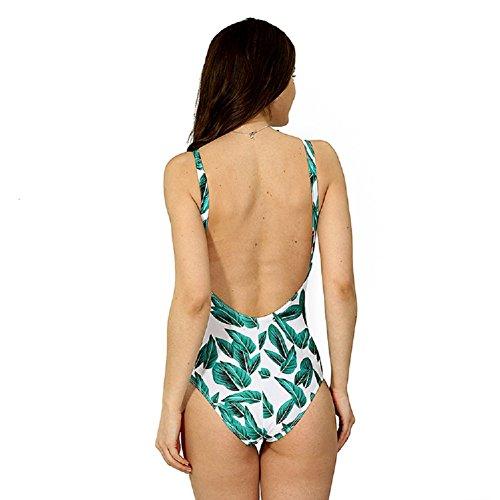 Shangrui Mujer Traje de Baño de la Serie Impreso Multi-cuerda Portafusil Sujetador Acolchado Traje de baño de una pieza(FZEH1604) Verde