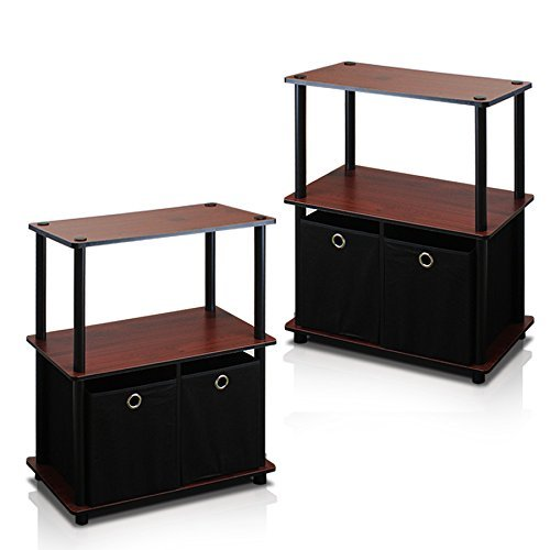 Furinno 2-99152DC Go Green 3-Tier 2-Bin Multi-Purpose Storage Shelf (Set of 2), Dark Cherry