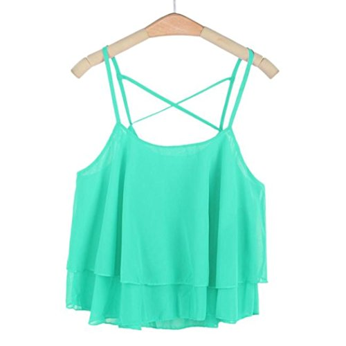 Green Man Costume Walmart (Women clothes,CieKen wear very comfortabie Women Irregular Summer Strap Floral Print Chiffon Elegant Shirt Camisole Vest Loose and easy leisure (Green))
