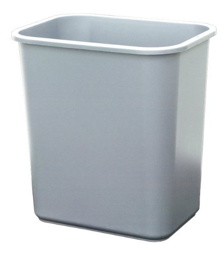 United Solutions WB0062 Grey Twenty Eight Quart Plastic Office/Indoor Wastebasket - 28QT 7 Gallon Plastic Trash/Refuse Can for Home, Office or Dorm in Grey