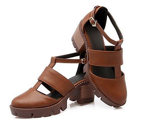 Women's Kitten Solid WeenFashion Heels Toe CA18LA03265 Sandals Buckle Brown Closed Pu XBn0ndqF