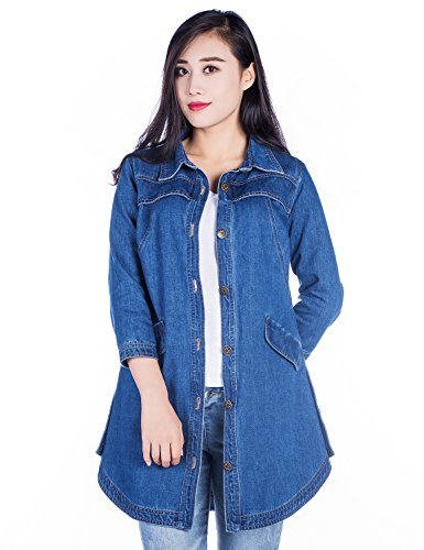 Amee Hanke Women's Long Denim Jacket Spring Fashion Jean Trench Coat With 3/4 Sleeve Button Down