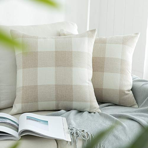 UGASA Set of 2, Farmhouse Decorative Throw Pillow Covers Plaids Checkered Cushion Covers Supersoft Cotton Linen Cushion Case for Sofa/Bedroom/Car, 18