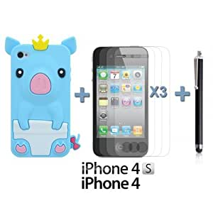 OnlineBestDigital - Piggy Style Soft Silicone Case for Apple iPhone 4S / Apple iPhone 4 - Light Blue with 3 Screen Protectors and Stylus