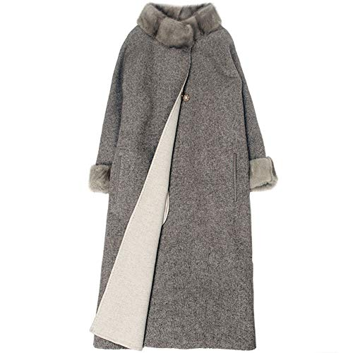 Imzoeyff Women Jacket Coat Autumn Winter Warm Coat Luxurious Woollen Collar Collar Nine Points Sleeves Long Woolen Coat Fashion Elegant,L