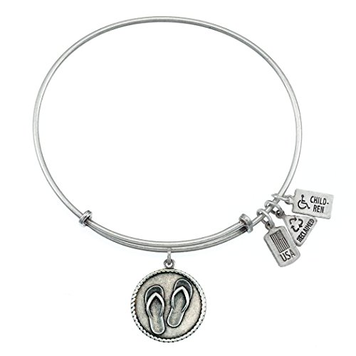- Wind and Fire Flip Flops Charm Bangle Bracelet (Antique Silvertone Finish)