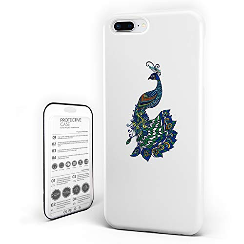 Customize Phone Protective Cover Peacock Oriental Background and Motley Bird Tail Painting Ultra Slim Protective Hard Plastic Case Cover for iPhone 7 Plus/8 Plus
