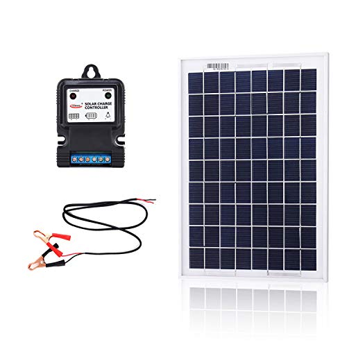 KOMAES 10 Watt 12 Volt Polycrystalline Photovoltaic PV Solar Panel 10W Solar Charger for 12V Battery Charging