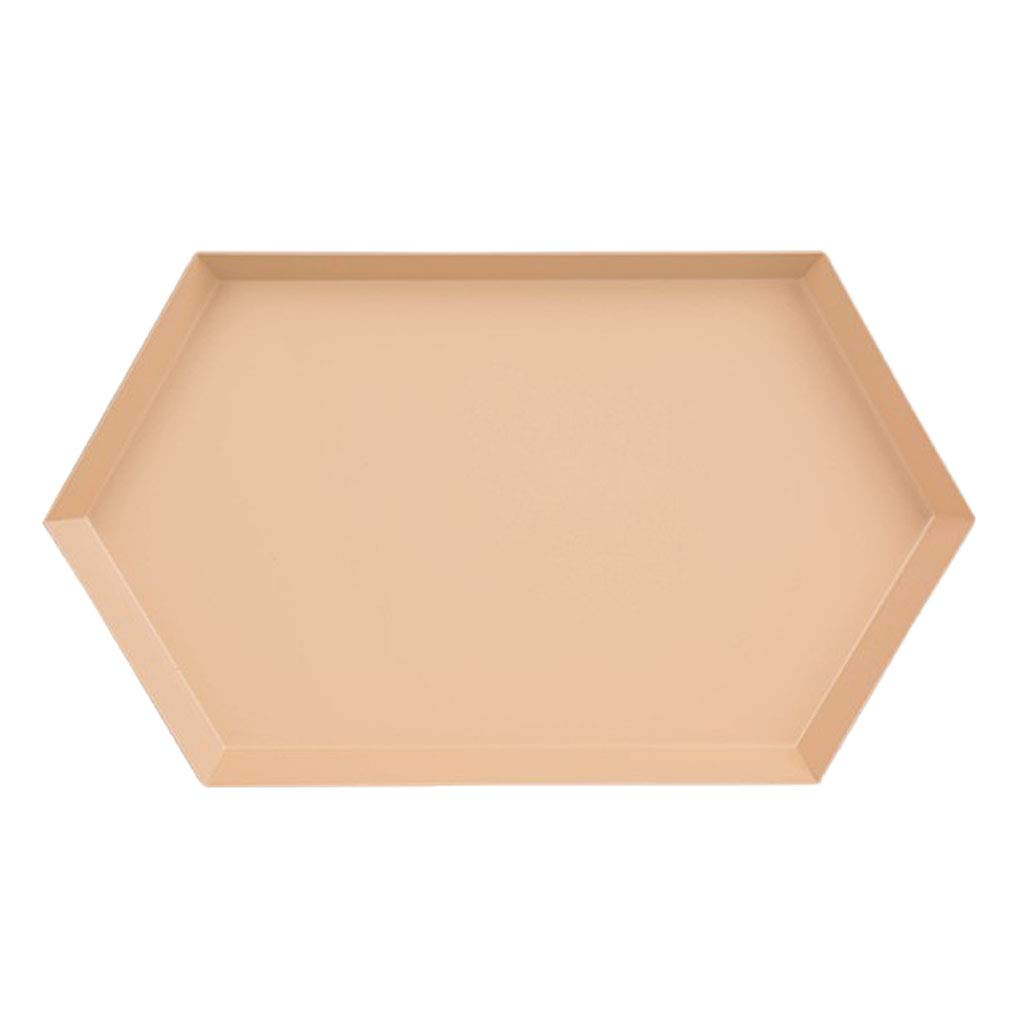 Homyl Polygon Jewelry Display Plate Storage Tray Nordic Geometric Cake Fruit Dish - Apricot L