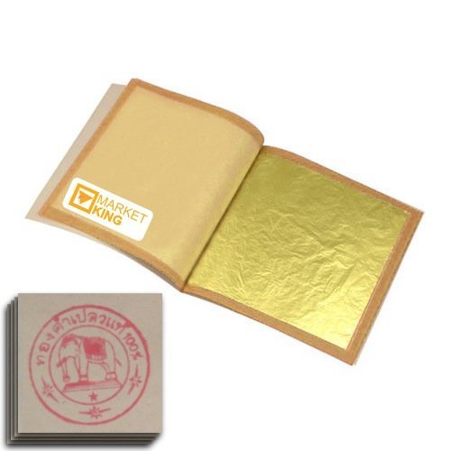 30pcs Gold Leaf Sheets M-size 24 Karat 1.2'' X 1.2'' Genuine for Cooking, Cakes & Chocolates, Decoration, Health & Spa