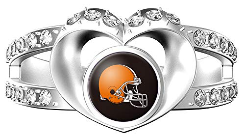 MT-Sports NFL Heart Shaped Lady Ring Lady Exquisite Heart Shaped Ring (Cleveland Brown, ()