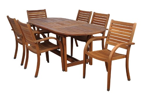 Amazonia Arizona 7 Piece Oval Outdoor Extendable Dining Set |Super quality Eucalyptus Wood| Durable and ideal for patio and backayard - DIMENSIONS: This set includes 1 Oval Extendable Table 71L x 43W x 29H.  with an extended length of 93.8. 6 Stacking Armchairs 23W x23D x 36H. VERSATILE DINING SET: 7-Piece patio Dining  set perfect for outdoors and indoors. Ideal for patios, gardens, terraces and poolside. Chairs are completely stackable and Table has a 2-inch umbrella hole for a great functionality. EASY ASSEMBLY AND MAINTENANCE: Chairs are shipped completely assembled while table require some assembly actions. Product includes a complete maintenance kit for FREE. Use this maintenance every summer season or as often as desired for best performance. - patio-furniture, dining-sets-patio-funiture, patio - 41m2WyDFUOL -