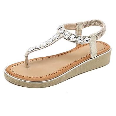 Damen Sommer Sandalen Strass Böhmen Strand Clip Toe Niedrigem Absatz T-Strap Schuhe, Schwarz, 36