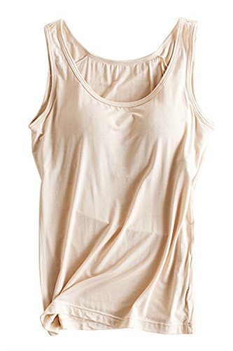 - FOURSTEEDS Womens Modal Stretch Wide Straps Sleeveless Solid Color Casual Camisole Top Shirts Khaki US 8-10/Tag Size 2XL