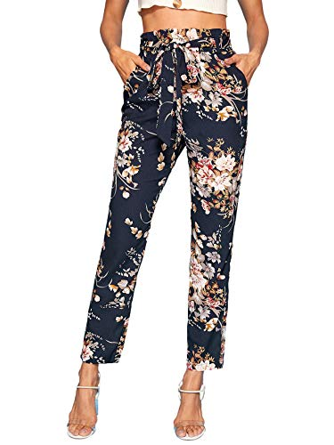 Milumia Women High Waist Boho Floral Tapered Summer Fall Pants Pockets Multicoloured L