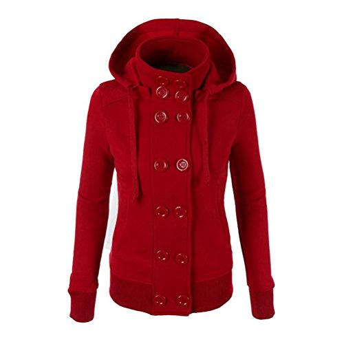 Zhhlaixing Mujeres Fashion Winter Casual Stand Up Collar Hooded Sweatshirt Warm Sweater Red