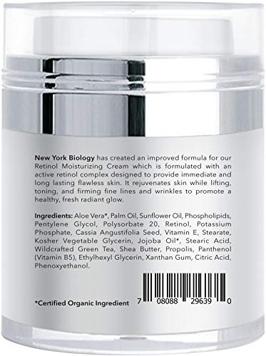 41m2YVJphsL - New York Biology Retinol Cream Moisturizer for Face and Eye Area - Anti Aging Infused with Vitamin A and E for Fine Lines and Wrinkles - 1.7 oz