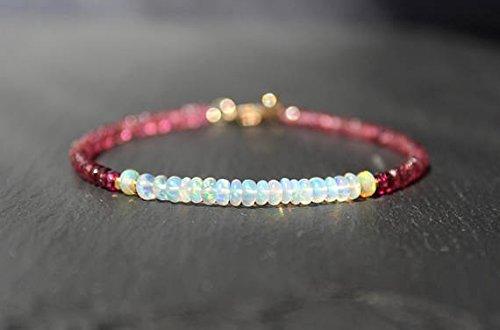 Opal Tourmaline Bracelet - Opal Bracelet with Pink Tourmaline, Opal Bracelet, Tourmaline Bracelet, Pink Tourmaline, Dainty Gemstone Beaded Bracelet 3.5 mm