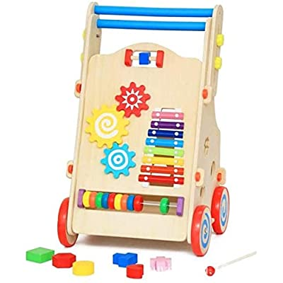 Mopoq Wooden Multi-Function Walker Can Lift and Lower Speed Cognitive and Arithmetic Matching Educational Toys, 32x30x61.8cm Children's Educational Toys: Home & Kitchen