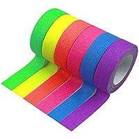 BIYUN 6 rollen Neon Gaffer doek Tape, Fluorescerende doek Tapes, UV Zwart Licht Reactieve Tape, Neon Gaffer Tape…