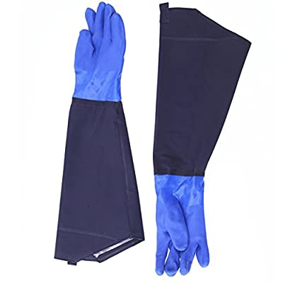 """Da Jia 1 Pair 25"""" Long Men's Waterproof Rubber Gloves Thicken Winter Cotton Lined Work Gloves for Car Washing"""
