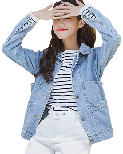 Con Outerwear Tasche Libero Blau Relaxed Cute Fashion Chic Hell Giacche Tendenza Jeans College Invernali Fidanzato Tempo Cappotto Donna Autunno Mieuid Giacca Ragazze H1YqY0