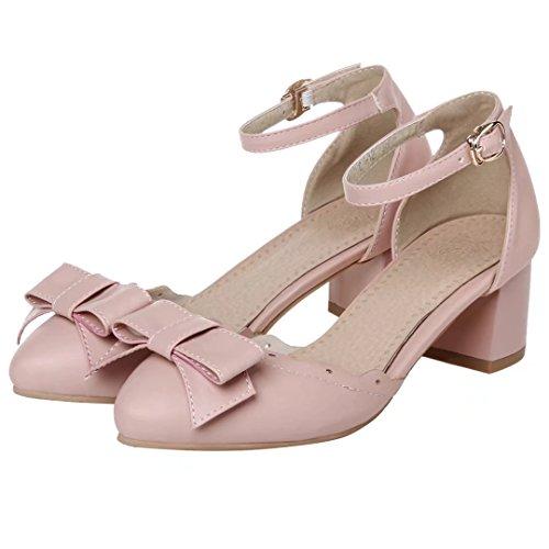 AIYOUMEI Damen Knöchelriemchen Pums mit Schleife und 5cm Absatz Blockabsatz Süße Schuhe Rosa