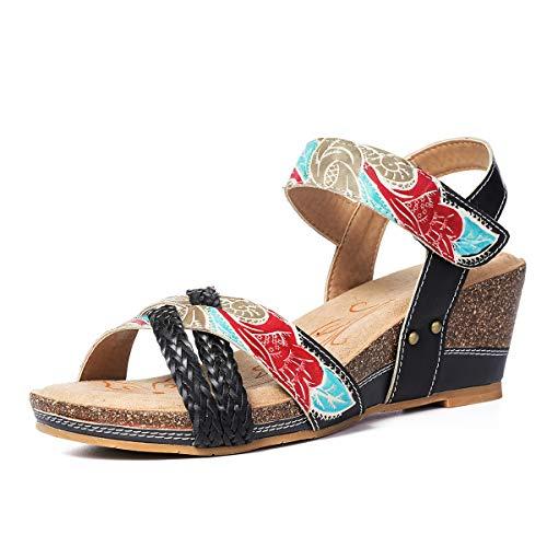 Zapatos A Mano De Estilo Hecho 1 Beige Gracosy Cuña Sandalias Para Grande Chanclas Azul Verano Cuero Talla Medio Tacón Bohemia Dedo Los 2019 Negro Romanas Mujer xqIB01wY