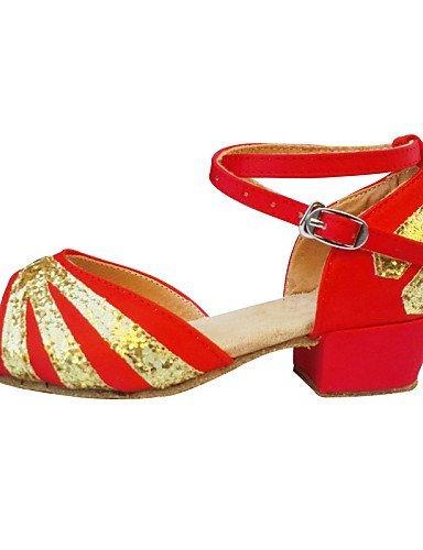 Satin danse Non Latine Red Jazz Personnalisables Ventre Talon Noir Chaussures Bas Baskets Bleu de Rouge Danse de ShangYi UnxEw1vqx