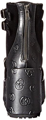 Concord 55 gefälschte Stiefeletten Leder Plattform mit Nieten, Samtmantel und schwarzem Schädel-Muster - (40 EU = US 10) - Demonia