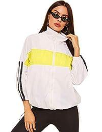 Milumia - Chamarra Deportiva con Capucha y cordón de Color para Mujer, Cortavientos, Resistente al Viento, Multicolor-17, S