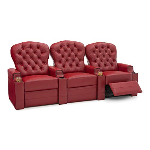 Lineage Home Furnishings - Seatcraft Lineage Home Theater Seating Leather Power Recline, Tufted Backrests, Nailhead Accent Armrest, USB Charging, Cup Holders Row of 3 Red