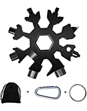 Men's Gifts Snowflake Multi-Tool, 19-in-1 Snowflake Tool Stainless Steel with a Gift Bag, a Key Ring and a Carabiner Clip,Multitool,Great Gift 1pcs