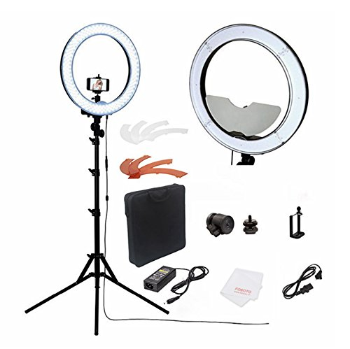 fosoto Camera Photo/Studio/Phone/Video RL-18'' 55W 240 LED Ring Light 5500K Photography Dimmable Ring Lamp With Mirror/Tripod by Fosoto