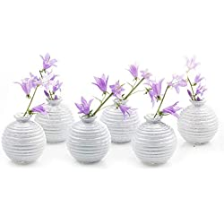 Chive - Smasak, Small Round Glass Flower Vase, Decorative Rustic Floral Vase for Home Decor Living Room Centerpieces and Events, Single Flower Bud Vase - Bulk Set of 6 (White)