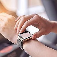 Mugust 2 Correas Compatibles con Fitbit Versa 2 Correa La Capacidad de Bloqueo Única de Correa de Metal de Acero Inoxidable es Adecuada para Hombres y Mujeres (L, Negro + Plata): Amazon.es: