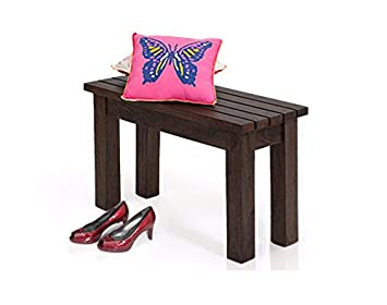 Angel Furniture Solid Wood Two Seater Hallway Stripped Design Seating Bench In Walnut Finish