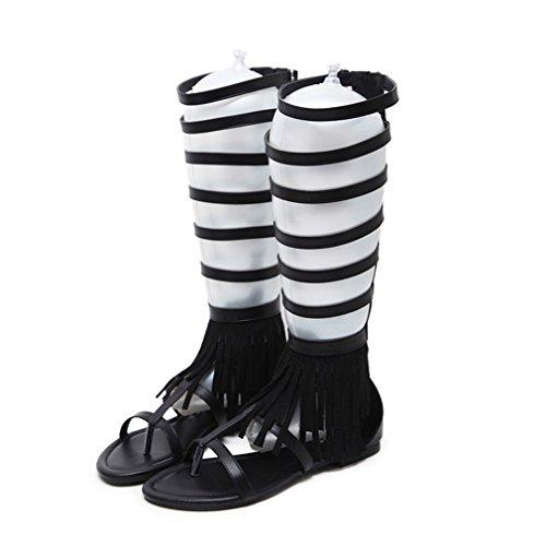 Women's Flat Gladiator Strappy Sandals Tall Mid-Calf Open Toe Fringe Caged Zipper Anti-Slip Flip - Tall Fringe