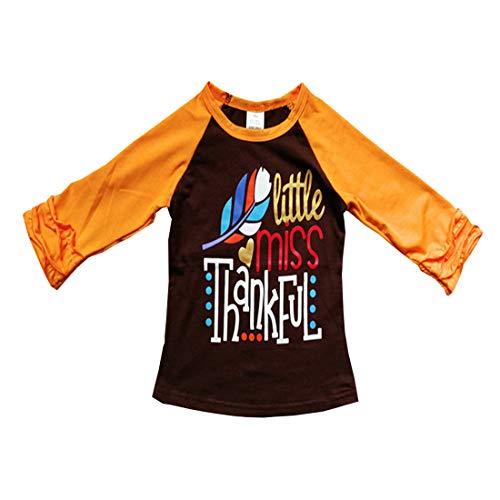 Baby Kids Girl Unicorn Halloween Pumpkin Car Print Ruffle Polka Dot Long Sleeve Cotton T-Shirt Top Outfits (Coffee, 3T) -