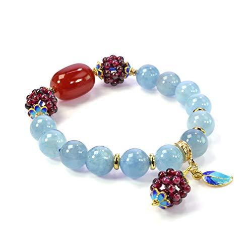Jan&Dee Natural Gemstone Aquamarine Bracelet Chakra Gems Stones Healing Crystal Grape Leaf Pendant Bracelet 10mm