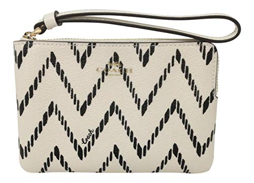 Coach PVC Corner Zip Wristlet in a GEO Chevron Print Black Chalk F67553