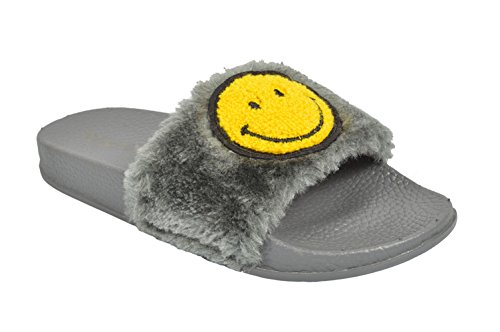 Smiley Face Faux Fur Slide Flip Flop Open Toe Slippers.(Grey-6)