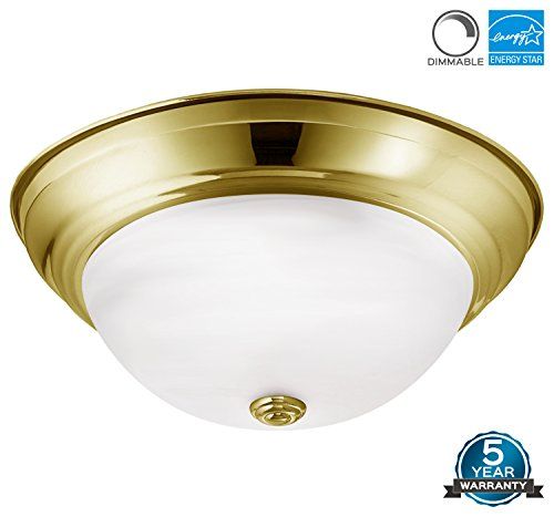 Luxrite LED Dome Ceiling Light, Gold Flush Mount Fixture, 13-Inch, 3000K Soft White, 1000 Lumens, Energy Star, Dimmable, Perfect for Entryway, Living Room, and Hallway (Gold Light Dome)
