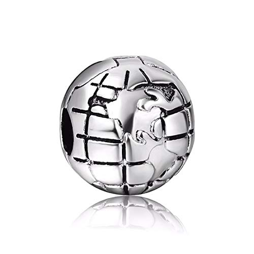 EVESCITY Silver Round Earth Globe Clip Bead Sterling Charm Fits Pandora & Similar Bracelets ()