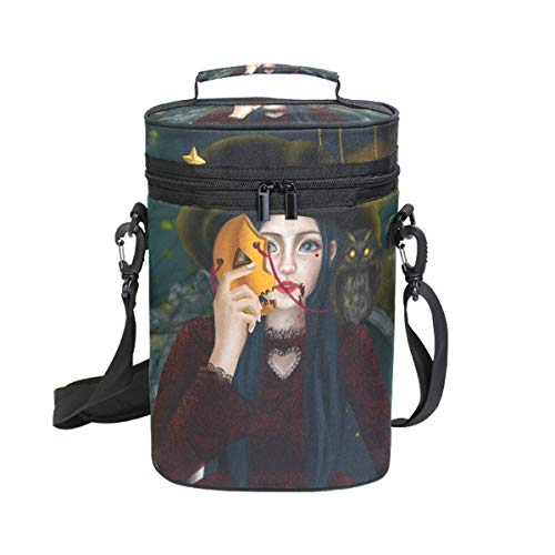 Mr.XZY Halloween Witch Girl Wood Magic Pumpkin Lantern Mask Bat Moon Firefly Insulated Wine Carrier Bag - 2 Bottle Travel Wine Carrying Cooler Tote with Handle and Shoulder Strap 2010098 ()