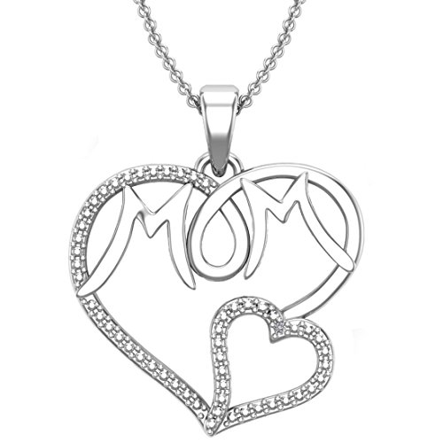 Belinda Jewelz 925 Solid Real Sterling Silver Mom Mother Double Heart Open Link Cute Charm Love Rhodium Plated Gift Classic Womens Fine Jewelry Chain Necklace Pendant, White Diamond, - Heart Cute Open