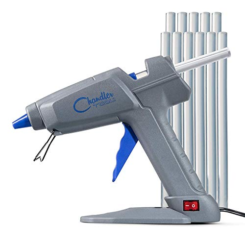 Chandler Tool Commercial Glue Gun - 100 Watt - 10 Hot Glue Sticks & Patented Base Stand Included - Heavy Duty High Temp for Construction, Home Improvement, DIY