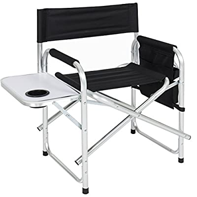 Best Choice Products Aluminum Folding Picnic Camping Chair W/Table Tray Cup Holder Director Seat