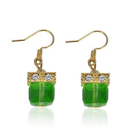 Tomikko Vintage Women Emerald Gemstone Wedding Engagement Earrings 925 Silver Jewelry | Model ERRNGS - 11715 |