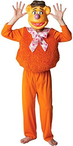 Boys Girls Official Disney Deluxe Fozzy Bear + Mask The Muppets 1960s 1970s Cartoon Film Halloween Book Day Week Fancy Dress Costume Outfit (7-8 Years, Fozzy